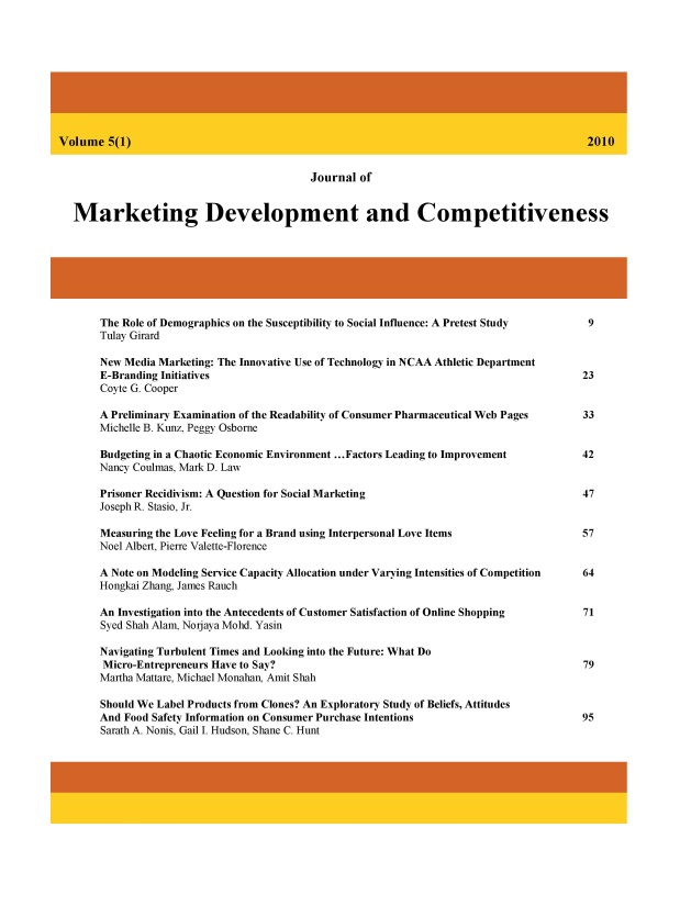 Journal of Marketing Development and Competitiveness